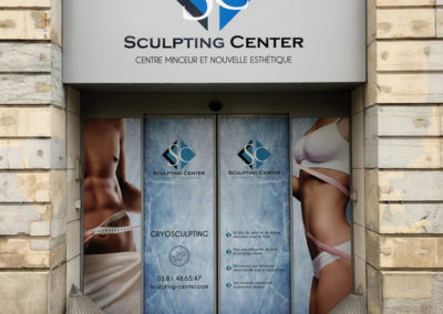 plv boutique adhésif vitrine sculpting center