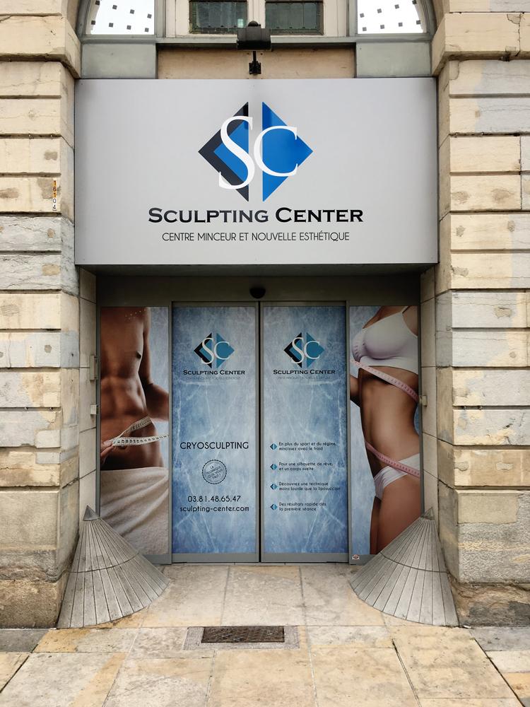 plv boutique adhésif vitrine sculpting center
